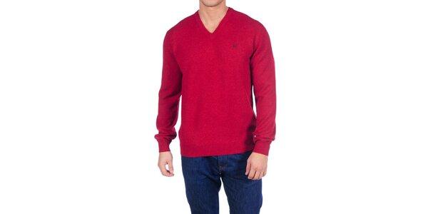 Pánský temně červený vlněný svetr Hackett London