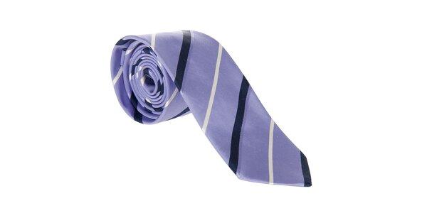 Pánská světle fialová hedvábná kravata Hackett London s proužky