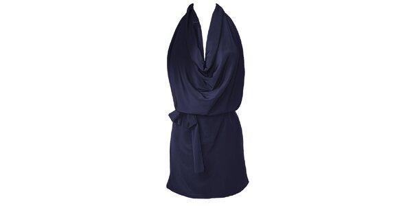Dámské temně modré šaty s vodopádem Virginia Hill