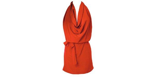 Dámské červené šaty s vodopádem Virginia Hill