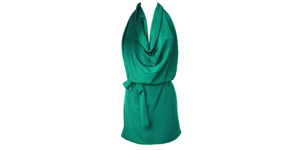 Dámské zelené šaty s vodopádem Virginia Hill
