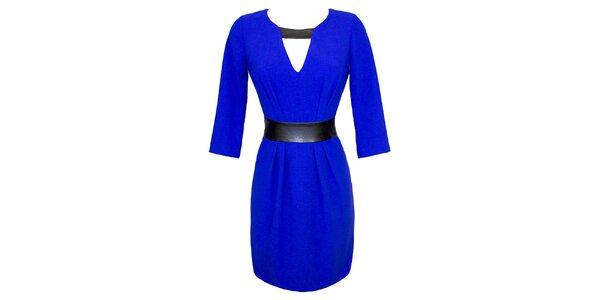 Dámské modré šaty s kontrastním páskem Virginia Hill