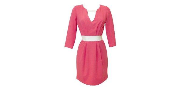 Dámské korálové šaty s kontrastním páskem Virginia Hill