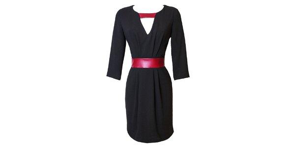 Dámské černé šaty s kontrastním červeným páskem Virginia Hill