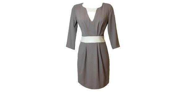 Dámské šedé šaty s kontrastním páskem Virginia Hill