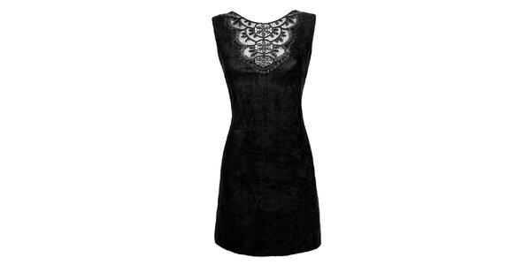 Dámské černé šaty s krajkovou aplikací Virginia Hill f15dcbac820