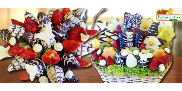 Kytice z ovoce a belgické čokolády Callebaut