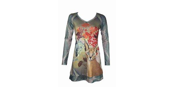 Dámské ocelově šedé šaty Smash s divokou kočkou