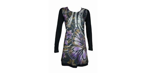 Dámské černé šaty Smash s fialovými květy