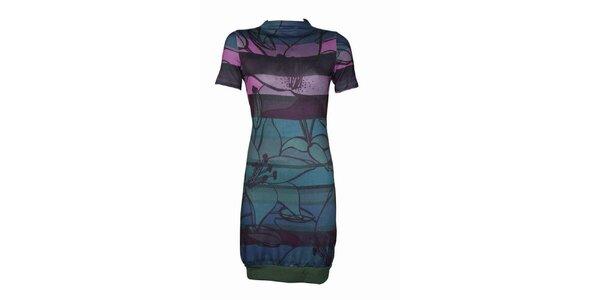 Dámské modro-fialové šaty Smash s květy