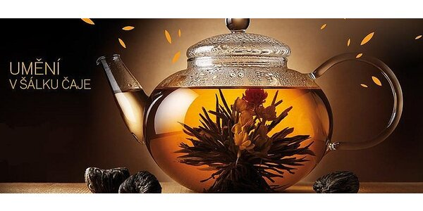 Dárková sada 10 kvetoucích čajů s konvičkou z varného skla