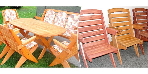 Dřevěný set zahradního nábytku pro 7 osob