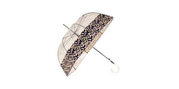 Dámský holový transparentní deštník Ferré Milano se šeříkovým okrajem