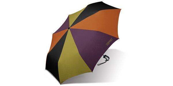 Dámský pestrobarevný deštník Esprit se zeleným logem