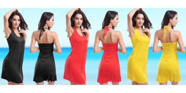 Plážové lehounké šaty se zavazováním za krk