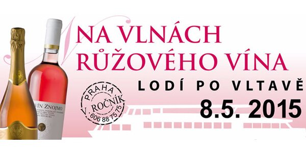 """Mimořádná plavba """"Na vlnách růžového vína"""" v Praze na Vltavě - 2,5 hodiny"""
