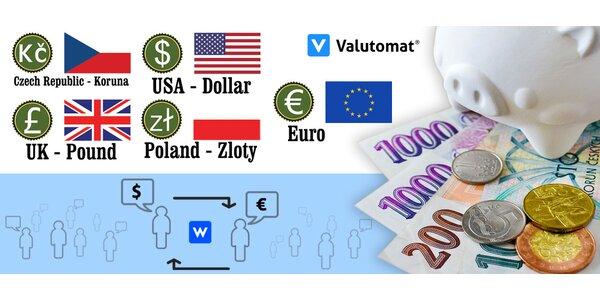 200 Kč na Valutomat.cz - cizí měny výhodněji