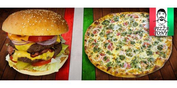 Double burger pro jednoho či dva nebo 3 pizzy za cenu dvou
