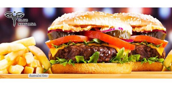 Dva výborné hovězí burgery + hranolky