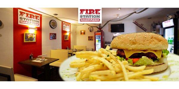Kuřecí nebo hovězí burger + hranolky - Fire Station