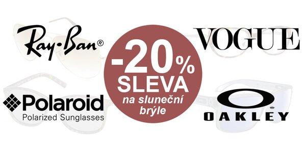20% sleva na sluneční brýle známých značek