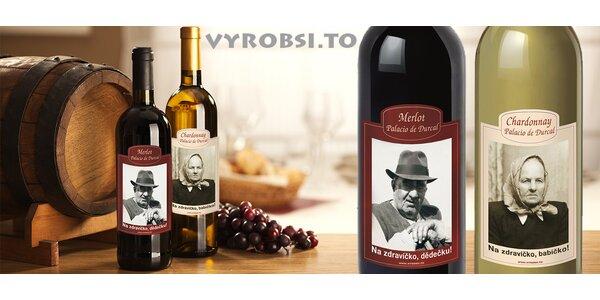 Láhev vína s vlastní fotkou a textem