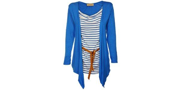 Dámský zářivě modrý top Comptoir des Parisiennes s kardiganem a páskem