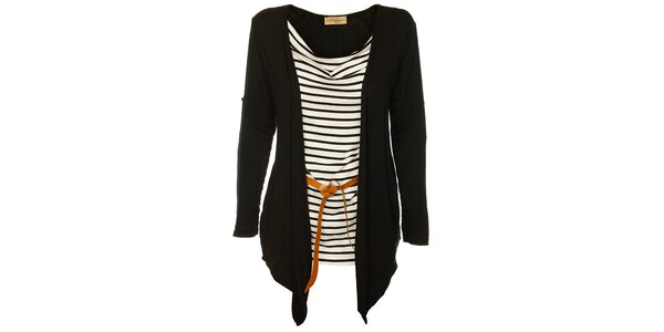 Dámský černo-bílý top Comptoir des Parisiennes s černým kardiganem a páskem