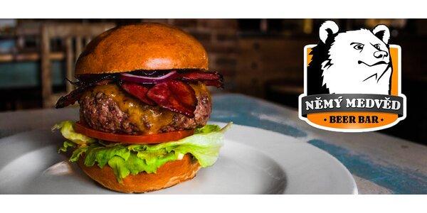 200g burger dle výběru v podniku Němý Medvěd