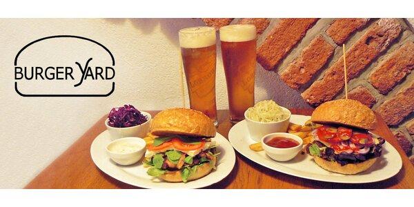 Pivo a burgery se salátem + hranolky
