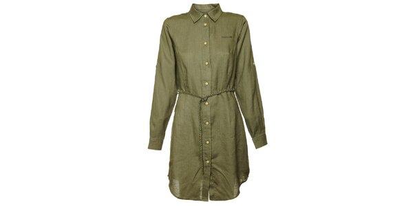 Dámské olivové košilové šaty Bushman