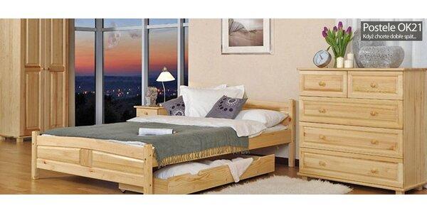 Kvalitní postel z masivu včetně roštu a matrace