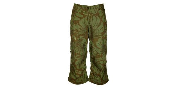 Dámské hnědo-zelené kalhoty Bushman s květinovým potiskem