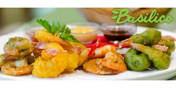 Krevety na 4 způsoby v restauraci Basilico