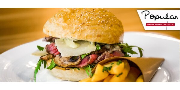 Sleva 40 % na burger z restaurace Popular