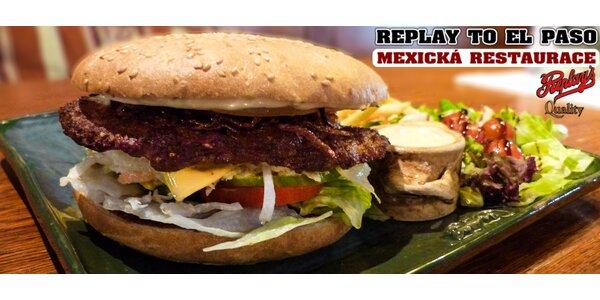Double chedar burger, hranolky a dip
