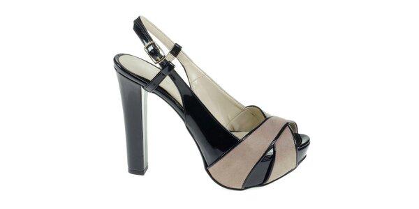 Dámské černo-béžové sandálky Eva Lopez
