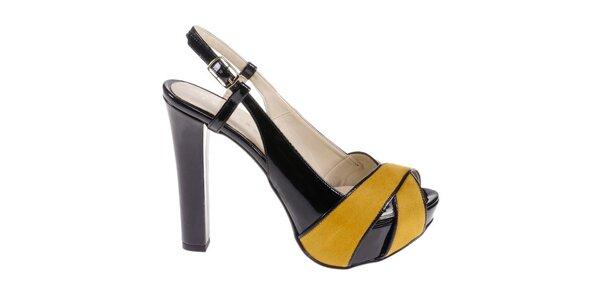 Dámské černo-žluté sandálky Eva Lopez
