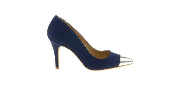 Dámské tmavě modré lodičky se stříbrnou kontrastní špičkou Eva Lopez