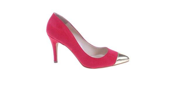 Dámské červené lodičky se stříbrnou kontrastní špičkou Eva Lopez