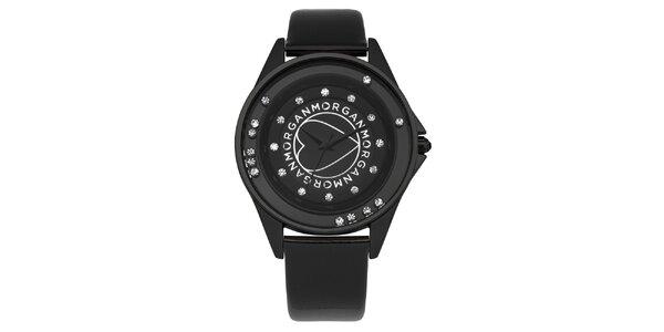 Dámské černé analogové hodinky s kamínky Morgan De Toi