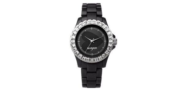 Dámské černé analogové hodinky s českými krystaly Morgan De Toi