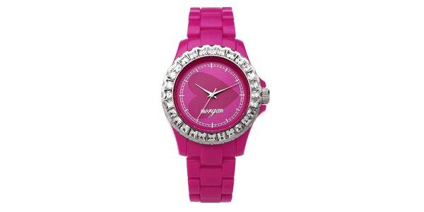 Dámské růžové analogové hodinky s českými krystaly Morgan De Toi