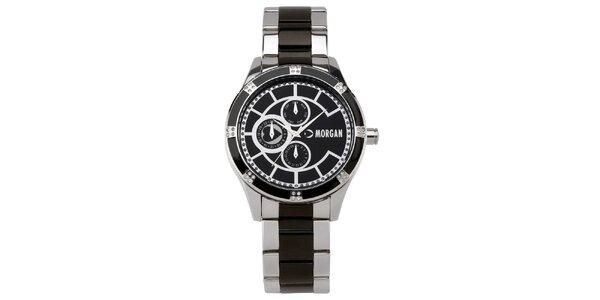Dámské hnědo-stříbrné hodinky s krystaly Morgan de Toi