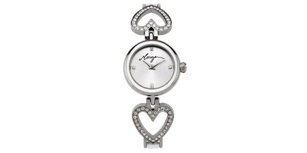 Dámské stříbrné hodinky s krystaly Morgan de Toi