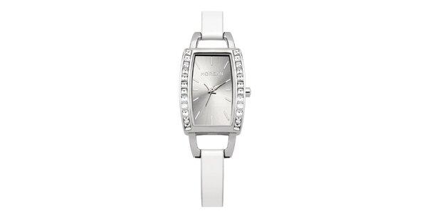 Dámské stříbrno-bílé hodinky s krystaly Morgan de Toi