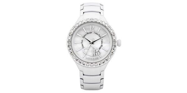 Dámské bílé hodinky s krystaly Morgan de Toi