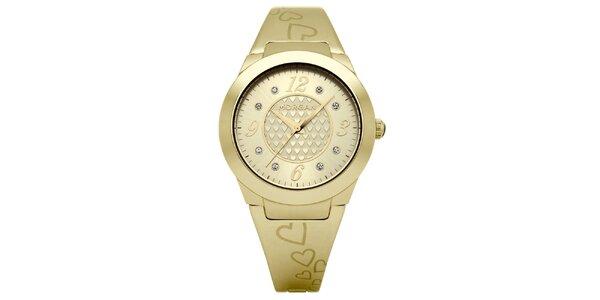Dámské zlaté matné hodinky s krystaly Morgan de Toi