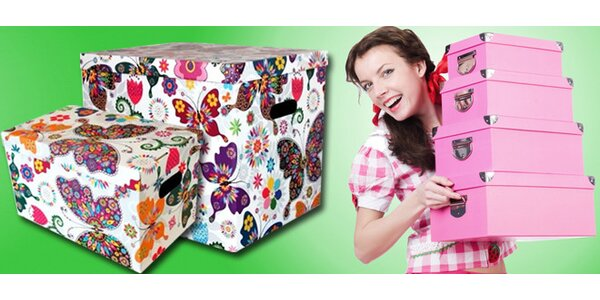 Úložné dekorativní krabice s pestrobarevným vzorem motýlů