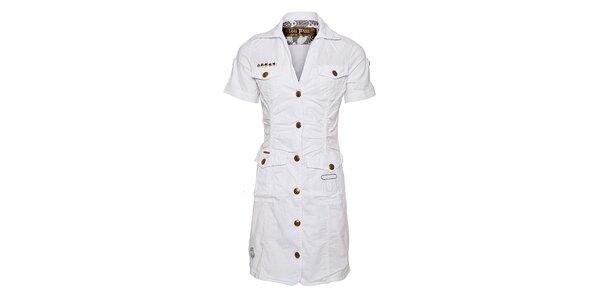Dámské bílé šaty Lois s límečkem a rukávky